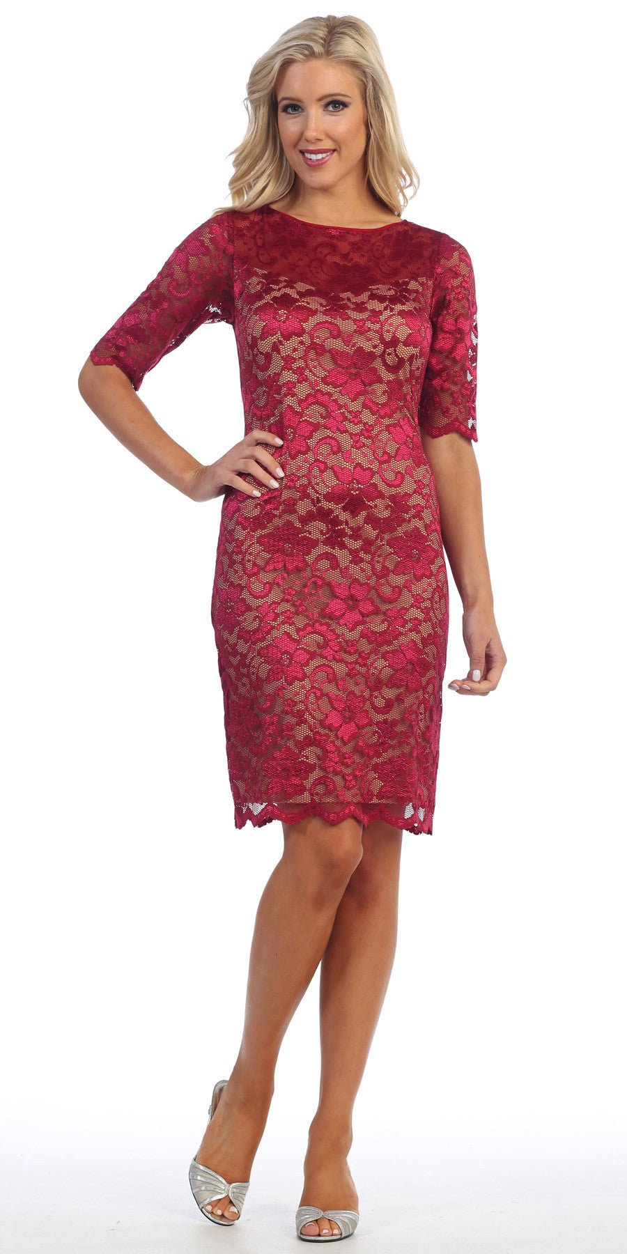 Lace Cocktail Dress Knee Length Burgundy/Nude 3/4 Length Sleeves