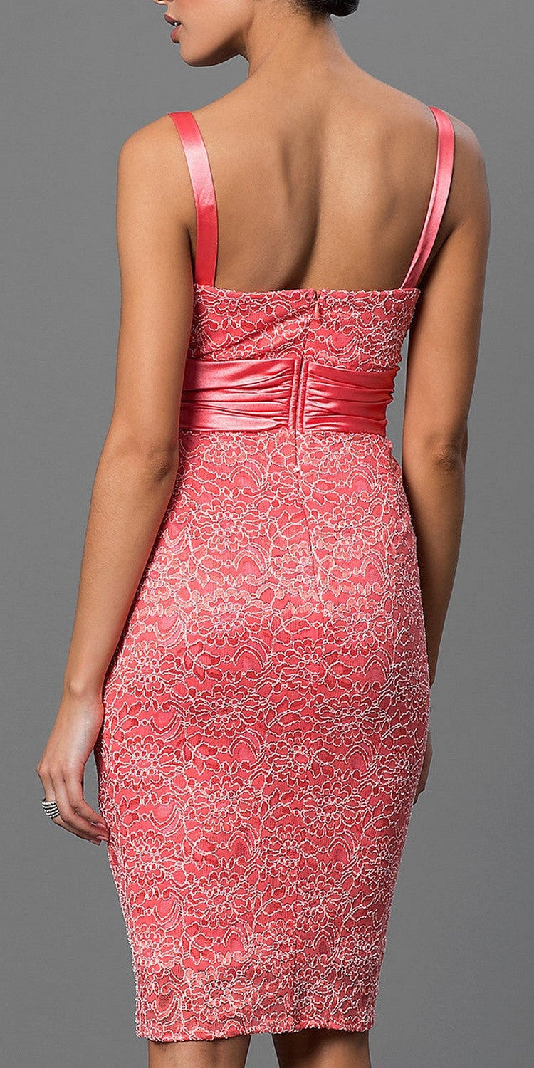 Lace Short Cocktail Dress Coral Pencil Skirt Matching Bolero Jacket