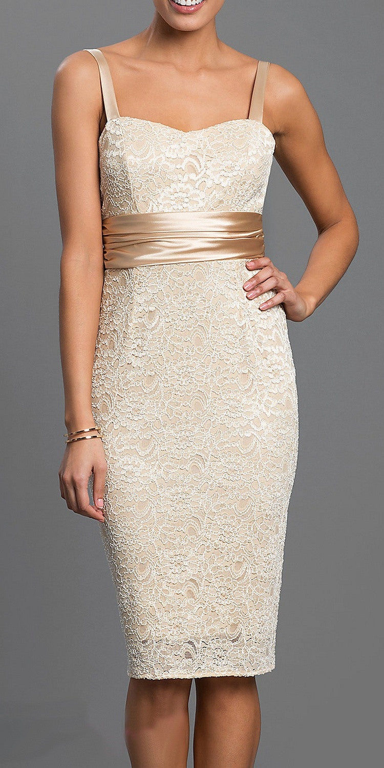 Lace Short Cocktail Dress Gold Pencil Skirt Matching Bolero Jacket