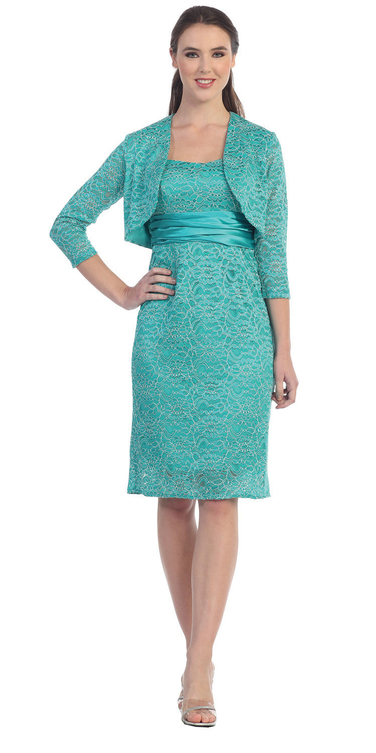 Lace Short Cocktail Dress Jade Pencil Skirt Matching Bolero Jacket