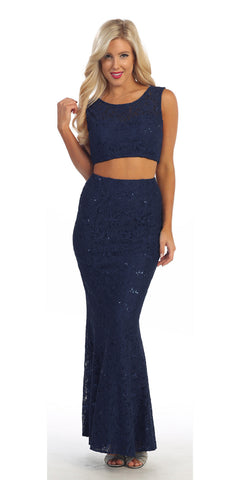 Long 2 Piece Navy Blue Lace Dress Sleeveless Form Fitting V Back