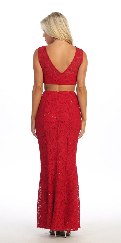 Long 2 Piece Red Lace Dress Sleeveless Form Fitting V Back