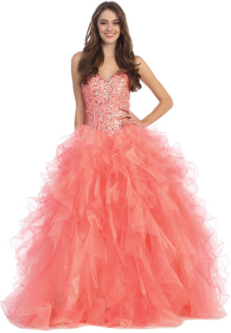 Long A Line Princess Gown Coral Stapless Boned Multi Layer