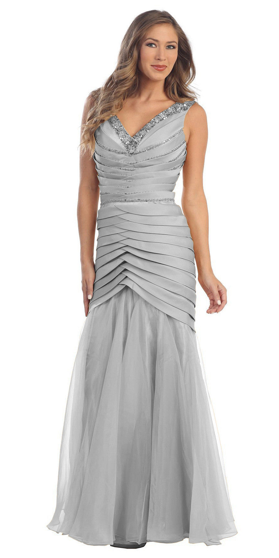Long Formal Silver Prom Dress Mermaid V-Neck Flare Satin Chiffon