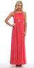 Long Military Ball Dress Coral Wide Stones Straps Empire Waist