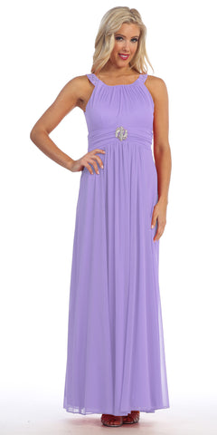 Long Military Ball Dress Lilac Wide Stones Straps Empire Waist
