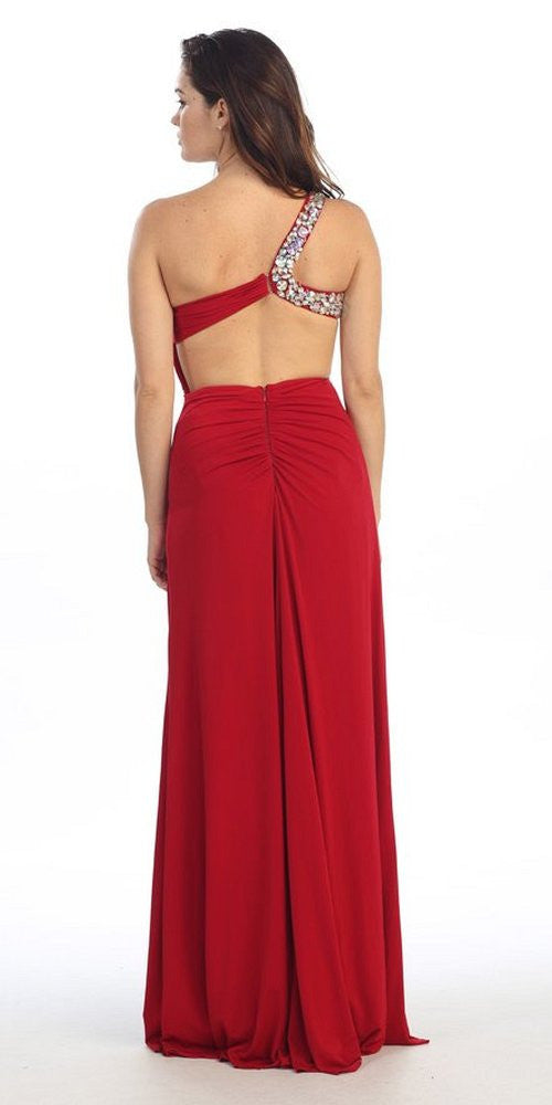 Long Single Strapped Thigh Slit Studded Red Pageant Dress