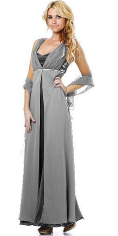 Long Sleeveless Belted Empire Waist Silver Concert Gown