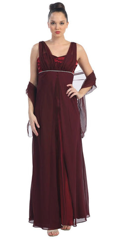 Long Sleeveless Belted Empire Waist Burgundy Concert Gown