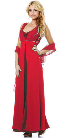 Long Sleeveless Belted Empire Waist Red Concert Gown