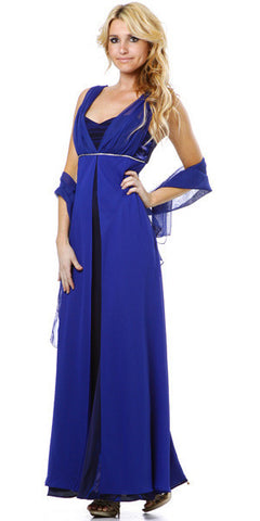 Long Sleeveless Belted Empire Waist Royal Blue Concert Gown