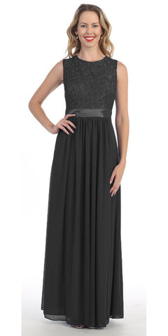 Long Sleeveless Black Semi Formal Dress Lace Top Chiffon Skirt