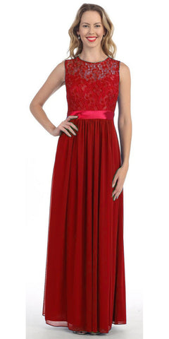 Long Sleeveless Red Semi Formal Dress Lace Top Chiffon Skirt