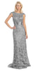 Meshed Yoke Keyhole Back Long Lace A Line Silver Formal Dress