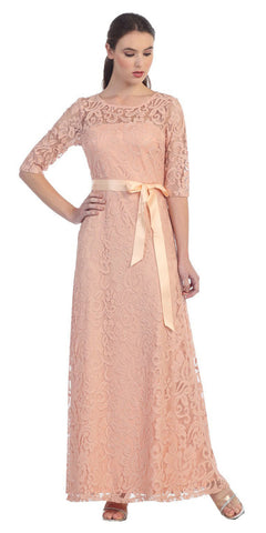 Meshed Yoke Long A Line Lace Peach Semi Formal Gown
