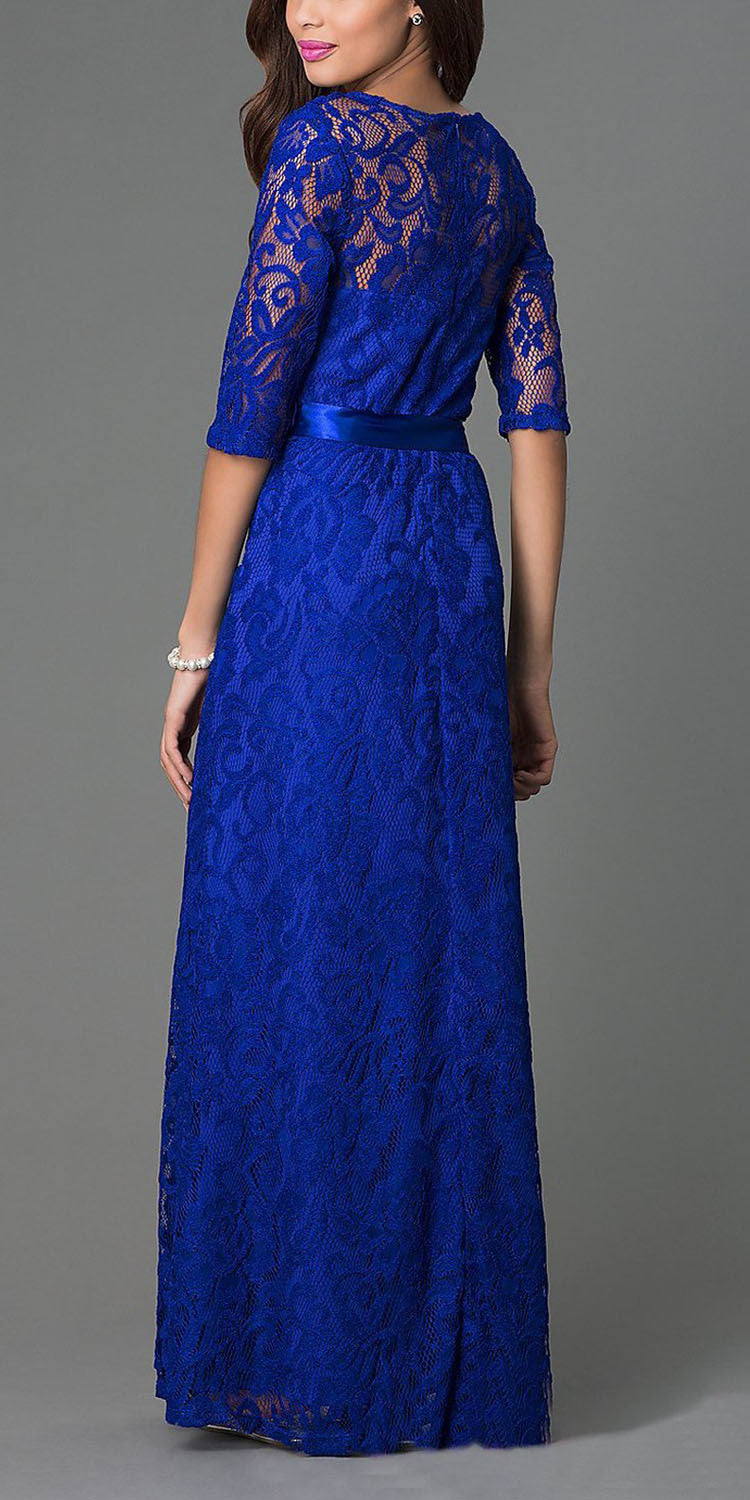 Meshed Yoke Long A Line Lace Royal Blue Semi Formal Gown