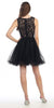 Mock 2 Piece Black Dress Short Poofy Skirt Lace Top