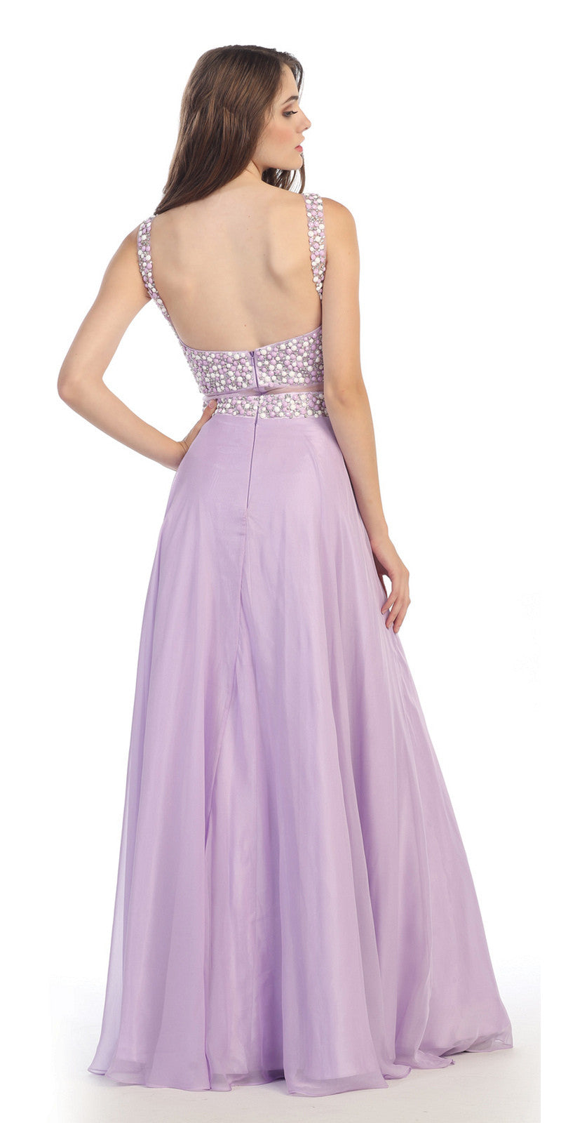 Mock Two Piece Long Chiffon Prom Dress Lavender Mesh Waist