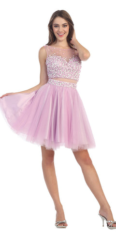 Mock Two Piece Short Mesh Homecoming Dress Lilac Mesh Waist
