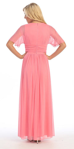 Modest Coral Gown Flowy Tea Length Long V Neck Short Sleeves Empire
