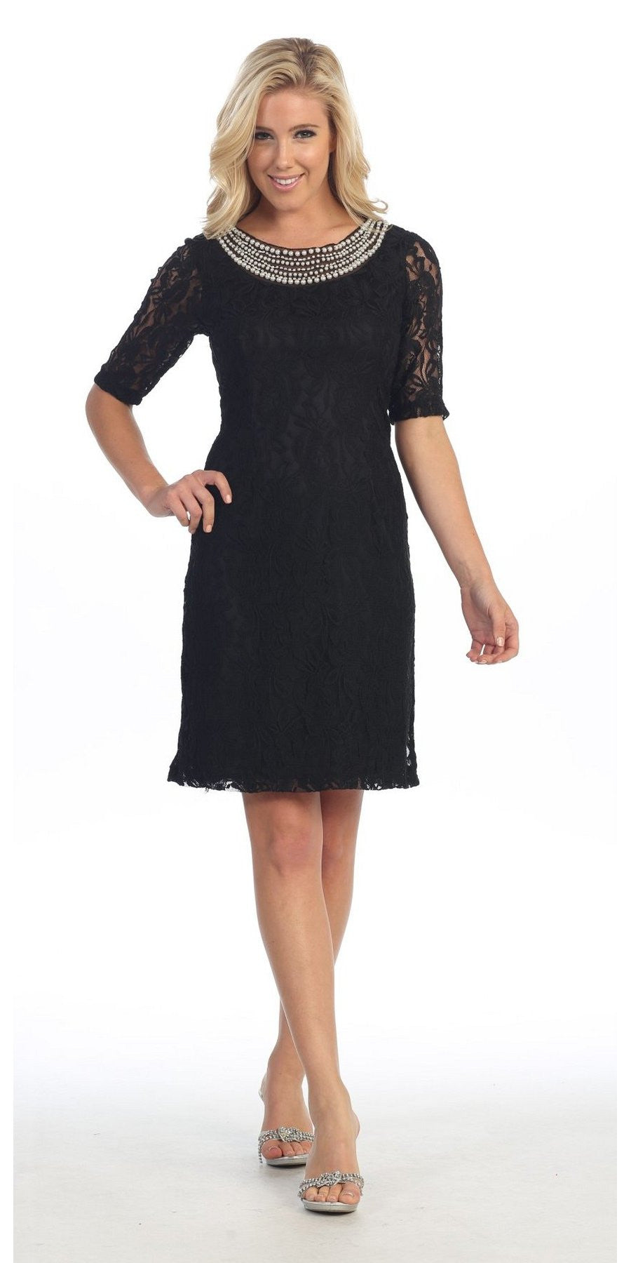 modest black knee length semi formal dress short sleeve