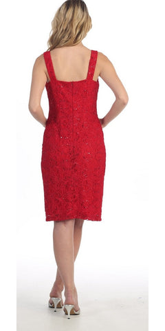 Modest Red Short Lace Dress With Matching Bolero Jacket