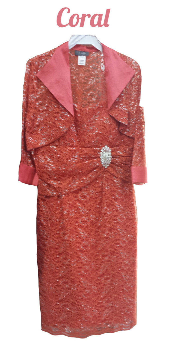Modest Knee Length Coral Lace Mother of Bride Dress W/Jacket Short