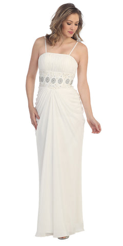 Off White Chiffon Long Dress Floor Length Maxi Curvy Empire Gathered