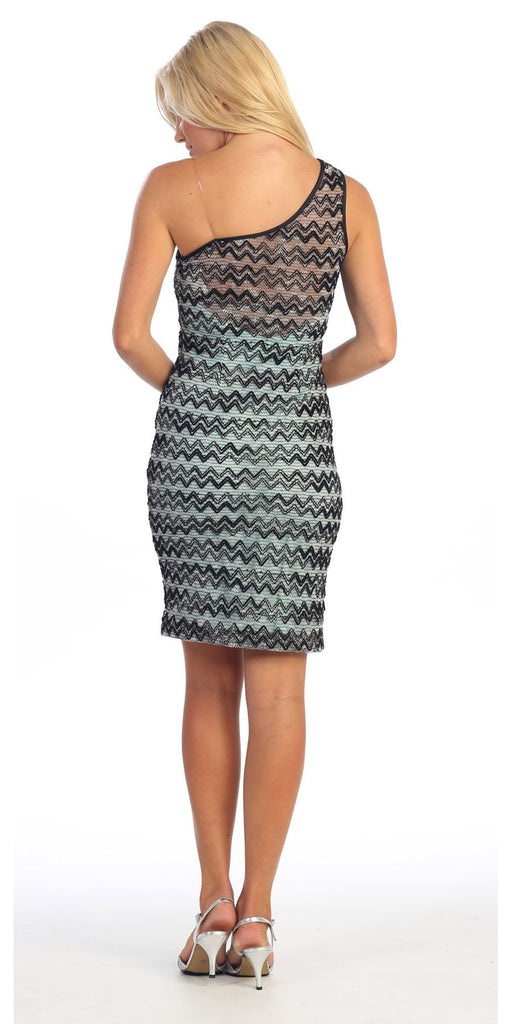One Shoulder Black/Aqua Short Lace Chevon Dress Includes Bolero Jacket