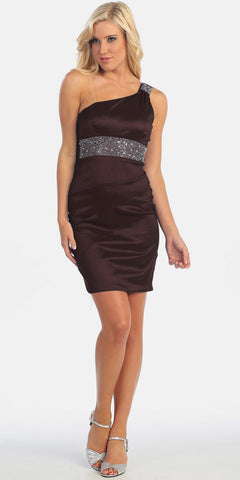 One Shoulder Black Cocktail Dress Above Knee Stretch Taffeta