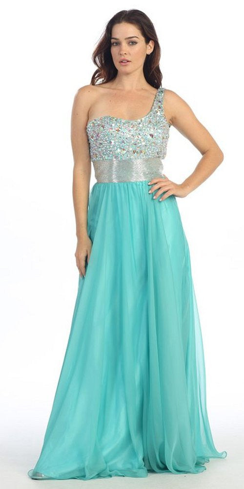 One Shoulder Corset Bodice A Line Mint Long Ball Gown
