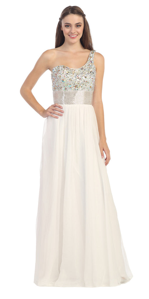 One Shoulder Corset Bodice A Line Ivory Long Ball Gown