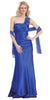 One Shoulder Ruched Bodice Royal Blue Long Column Gown