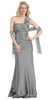 One Shoulder Ruched Bodice Silver Long Column Gown