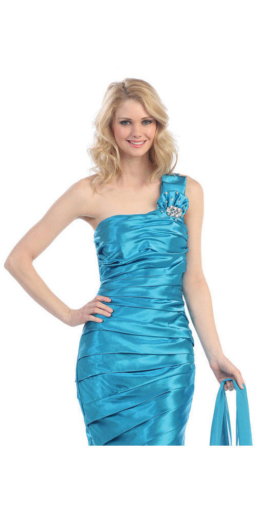 One Shoulder Ruched Bodice Turquoise Long Column Gown