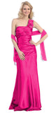 One Shoulder Ruched Bodice Fuchsia Long Column Gown