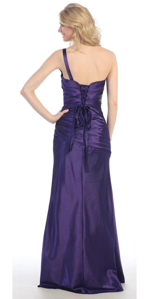One Shoulder Ruched Bodice Purple Long Column Gown