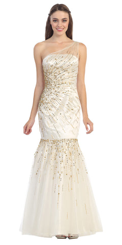 One Shoulder Sequined Long Ivory Gold Mermaid Prom Dress