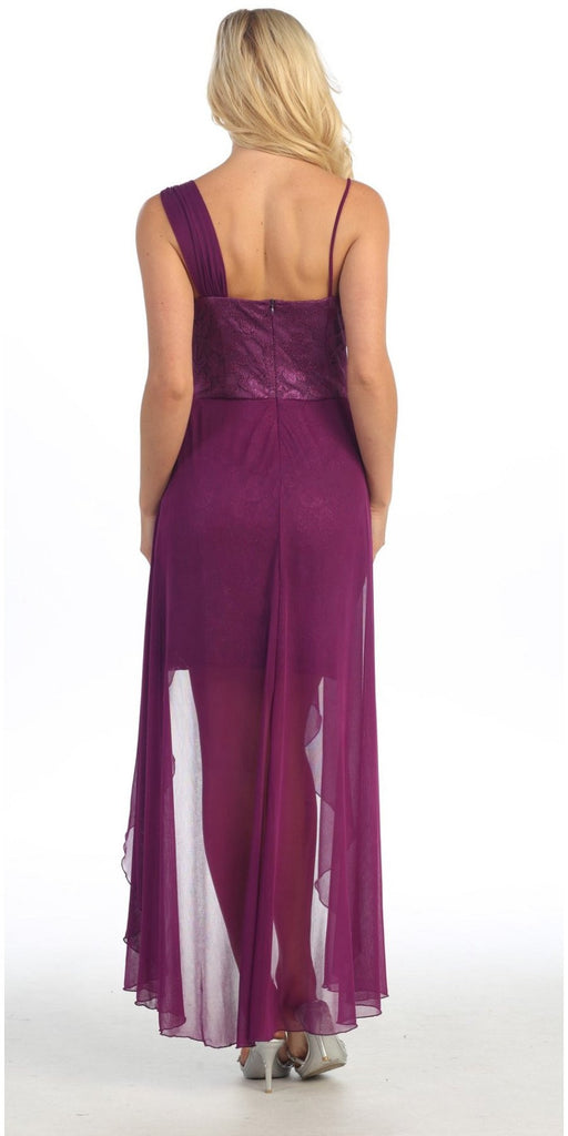 One Shoulder Spaghetti Strap Purple High Low Dress Chiffon
