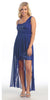 One Shoulder Spaghetti Strap Royal Blue High Low Dress Chiffon