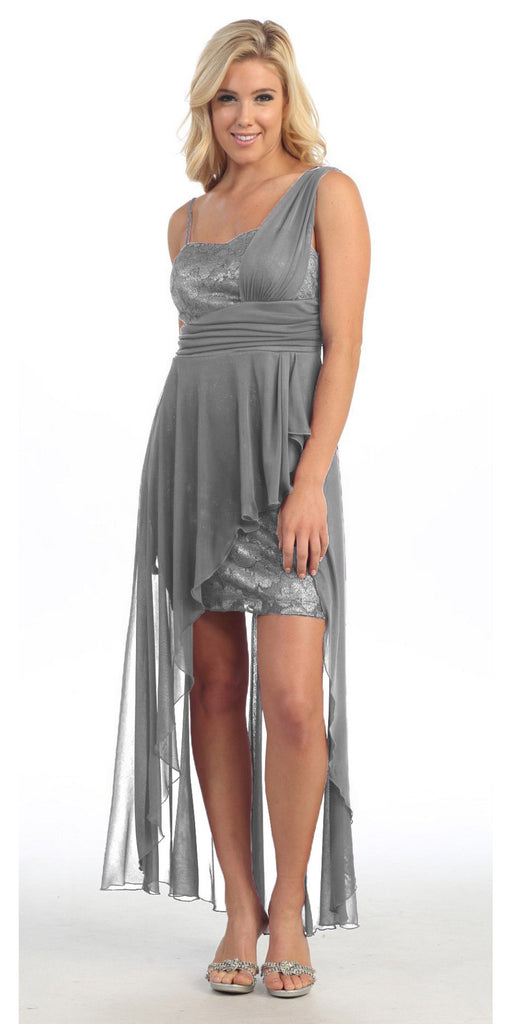 One Shoulder Spaghetti Strap Silver High Low Dress Chiffon
