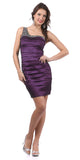 Single Shoulder Strap Plum Cocktail Dress Short Stretch Taffeta