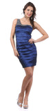 Single Shoulder Strap Royal Blue Cocktail Dress Short Stretch Taffeta