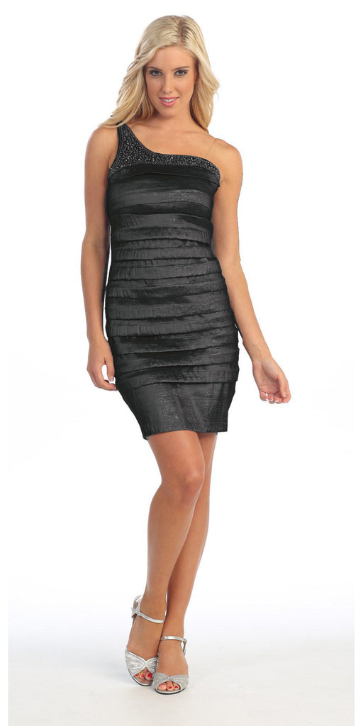 Single Shoulder Strap Black Cocktail Dress Short Stretch Taffeta