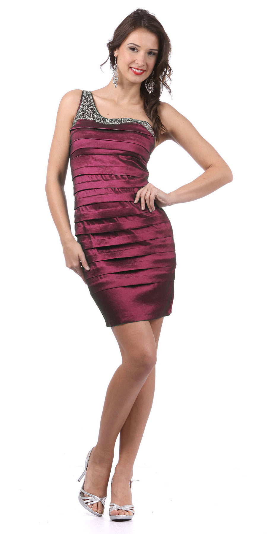 Single Shoulder Strap Burgundy Cocktail Dress Short Stretch Taffeta