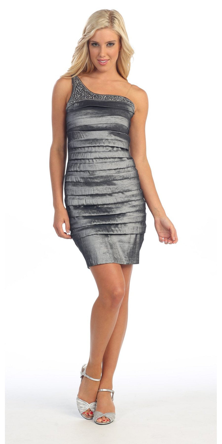 Single Shoulder Strap Dark Silver Cocktail Dress Short Stretch Taffeta