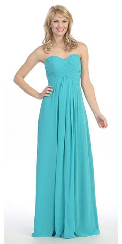 Pleated Strapless Sweetheart Neck Jade Long Column Gown