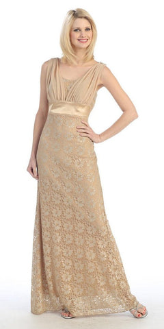 Pleated Straps Belted Empire Waist Gold Lace Formal Gown