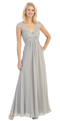 Plunging V Neck Long Chiffon A Line Silver Evening Dress