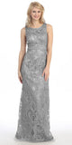Plus Size Floor Length Lace Evening Gown Silver Wide Straps